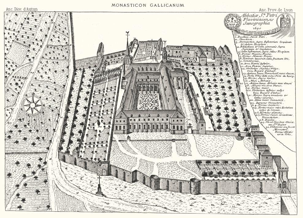 Ansicht der Abtei Saint-Pierre Ende des 17. Jahrhunderts. Kupferstich des Monasticum Gallicanum.