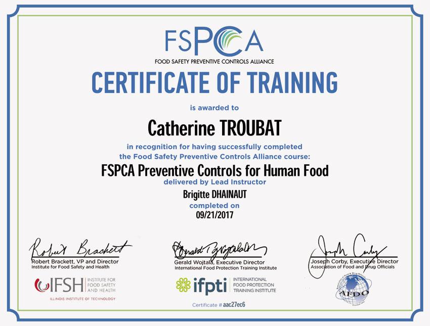 Schulungszertifikat für das Qualitätssicherungsteam nach den amerikanischen Standards für Lebensmittelsicherheit.